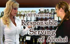 Bartending License, alcohol awareness training program certificate Off-Premises Responsible Serving®